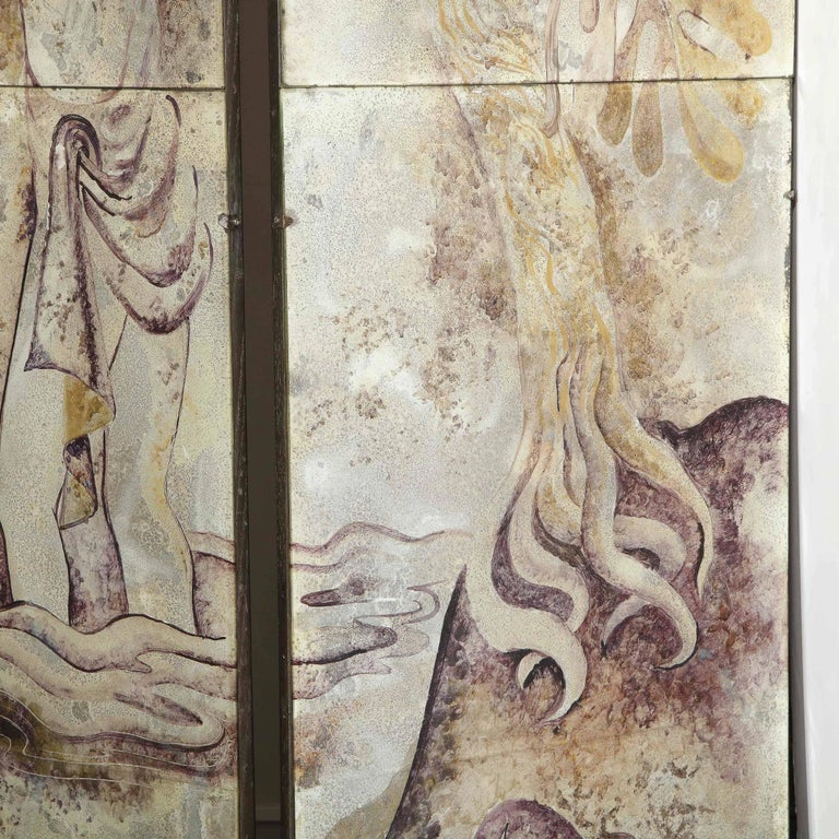 Signed Emrich Nicholson Hand Painted Mirrored Screen Estate of Arthur Rubinstein For Sale 10