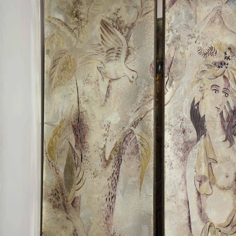 Signed Emrich Nicholson Hand Painted Mirrored Screen Estate of Arthur Rubinstein In Good Condition For Sale In New York, NY