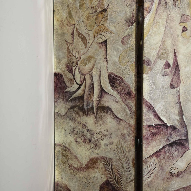 Mid-20th Century Signed Emrich Nicholson Hand Painted Mirrored Screen Estate of Arthur Rubinstein For Sale