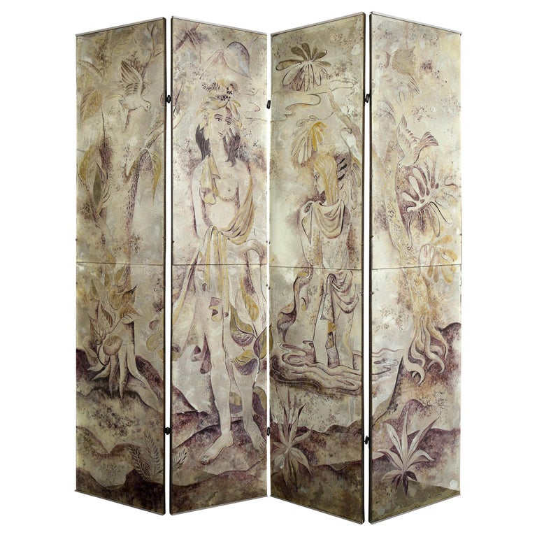 Signed Emrich Nicholson Hand Painted Mirrored Screen Estate of Arthur Rubinstein For Sale