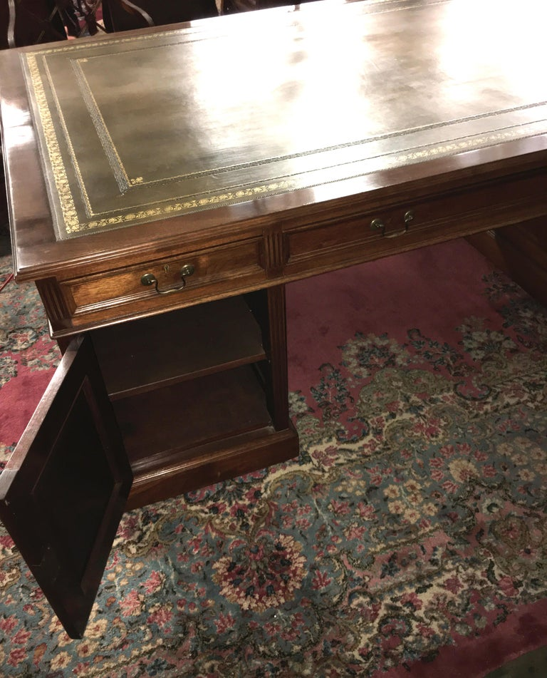 Late 19th Century Signed English Double Sided Mahogany Partners Desk by Maple & Co. For Sale