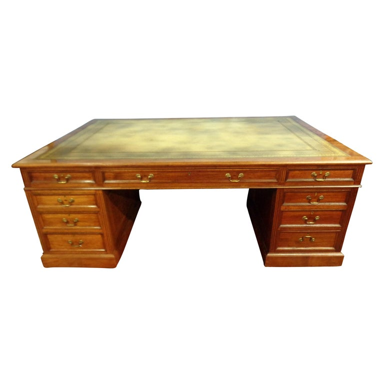 Signed English Double Sided Mahogany Partners Desk by Maple & Co. For Sale