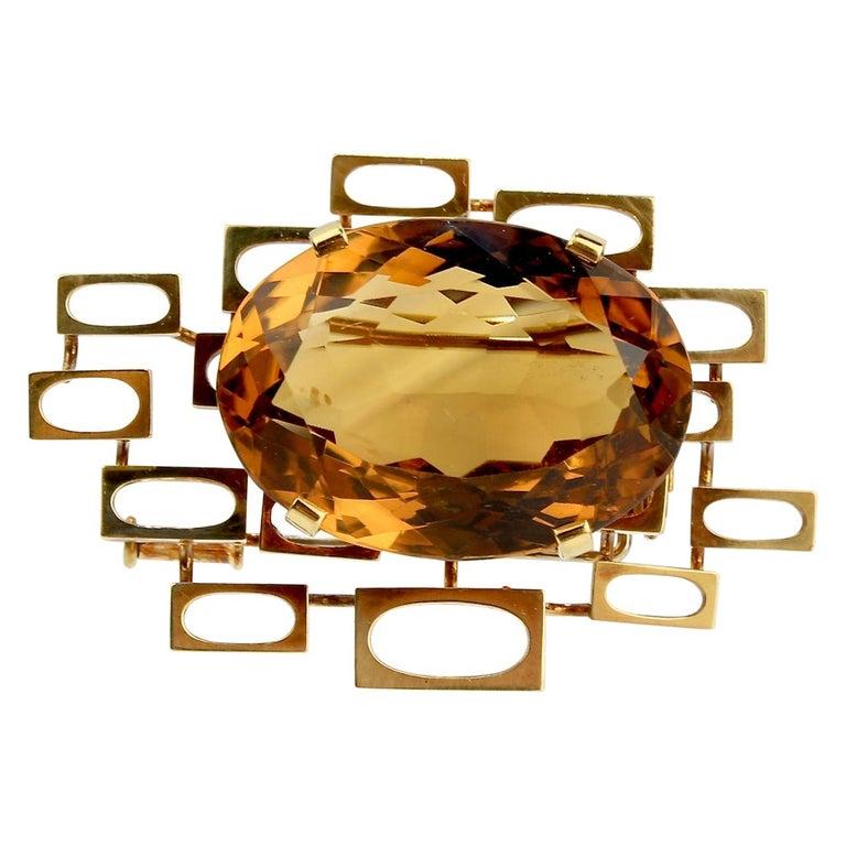 Signed Eric Pickler Modernist 18k Gold and Citrine Brooch or Scarf Pin, 1960s For Sale