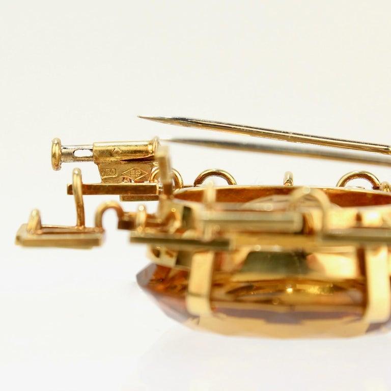 Signed Eric Pickler Modernist 18k Gold and Citrine Brooch or Scarf Pin, 1960s For Sale 5