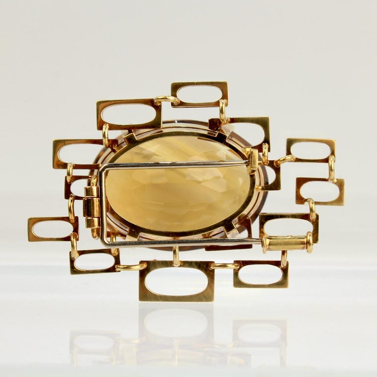 Women's Signed Eric Pickler Modernist 18k Gold and Citrine Brooch or Scarf Pin, 1960s For Sale
