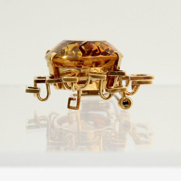 Signed Eric Pickler Modernist 18k Gold and Citrine Brooch or Scarf Pin, 1960s For Sale 1