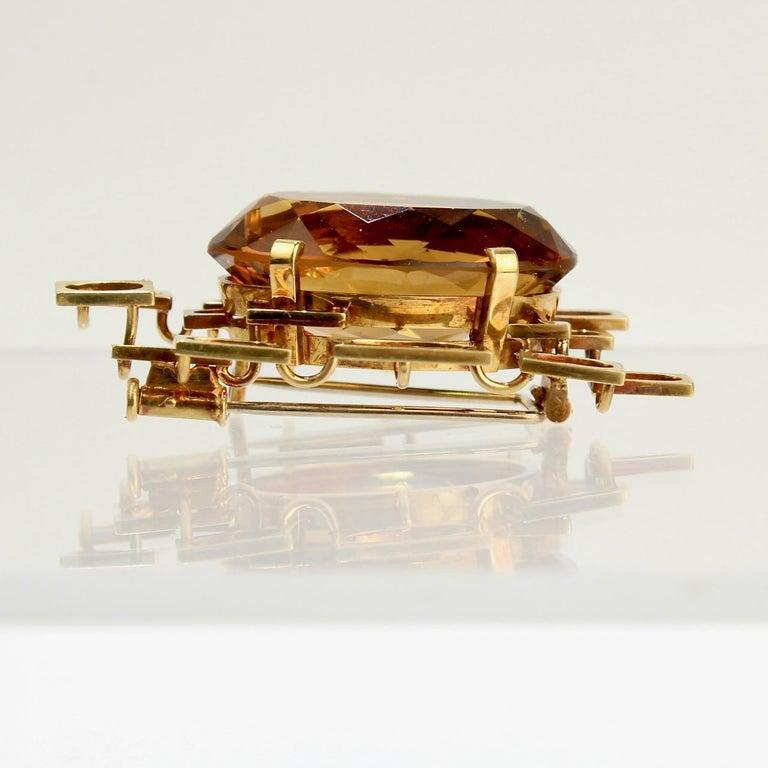 Signed Eric Pickler Modernist 18k Gold and Citrine Brooch or Scarf Pin, 1960s For Sale 2