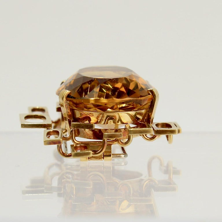 Signed Eric Pickler Modernist 18k Gold and Citrine Brooch or Scarf Pin, 1960s For Sale 3