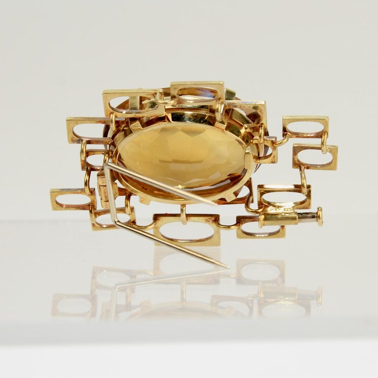 Signed Eric Pickler Modernist 18k Gold and Citrine Brooch or Scarf Pin, 1960s For Sale 4