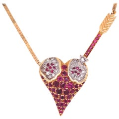 Signed Erté Rubies & Diamonds L'Amour Heart Pendant Necklace Fine Estate Jewelry