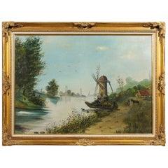 Signed Eugène Petitpas 1902 Oil on Canvas Landscape Painting in Giltwood Frame