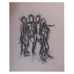 Signed Francine Turk Charcoal Drawing