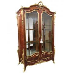 Tall Signed Francois Linke Louis XV Dore' Bronze Mounted Vitrine China Cabinet