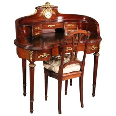 Signed Francois Linke Mirrored Mahogany Louis XV Ladies Vanity with Clock