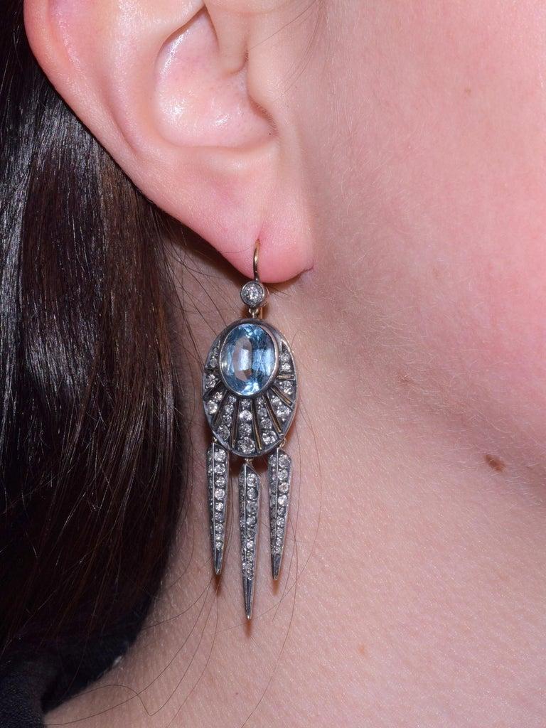 Women's Fred Leighton Aquamarine and Diamond Rayed Dart Earrings For Sale