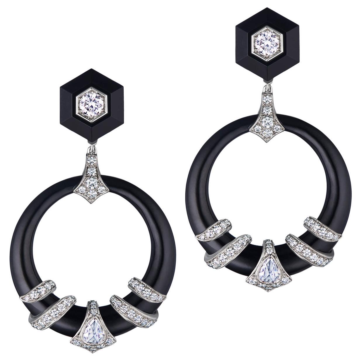 Fred Leighton Black Jade and Diamond Coil Doorknocker Earrings