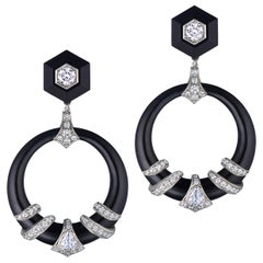 Fred Leighton Black Jade and Diamond Coil Doorknocker Earrings