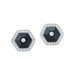 Fred Leighton Black Jade and Diamond Halo Hexagonal Stud Earrings