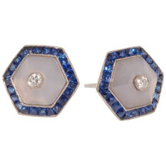 Fred Leighton Blue Chalcedony and Sapphire Halo Hexagonal Stud Earrings