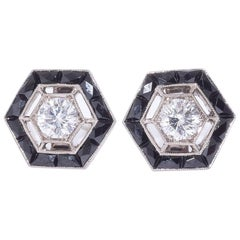 Fred Leighton Diamond and Black Onyx Halo Hexagonal Stud Earrings