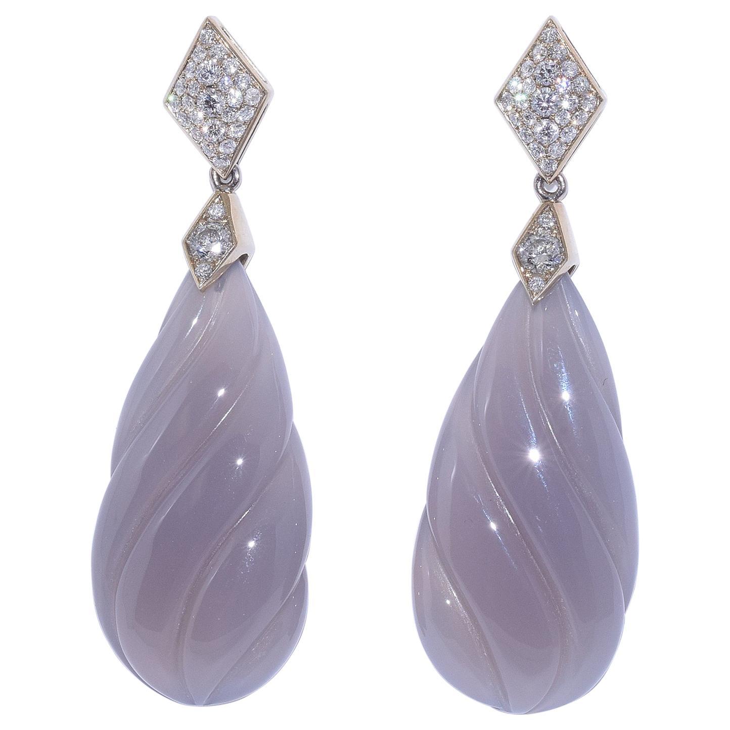 Fred Leighton Grey Chalcedony and Diamond Helix Pendant Earrings