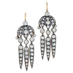 Fred Leighton Old Mine Diamond Budding Flower Dart Earrings