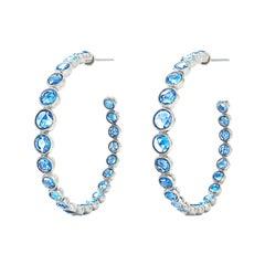 Signed Fred Leighton Rose Cut Blue Sapphire Rosette Hoop Earrings