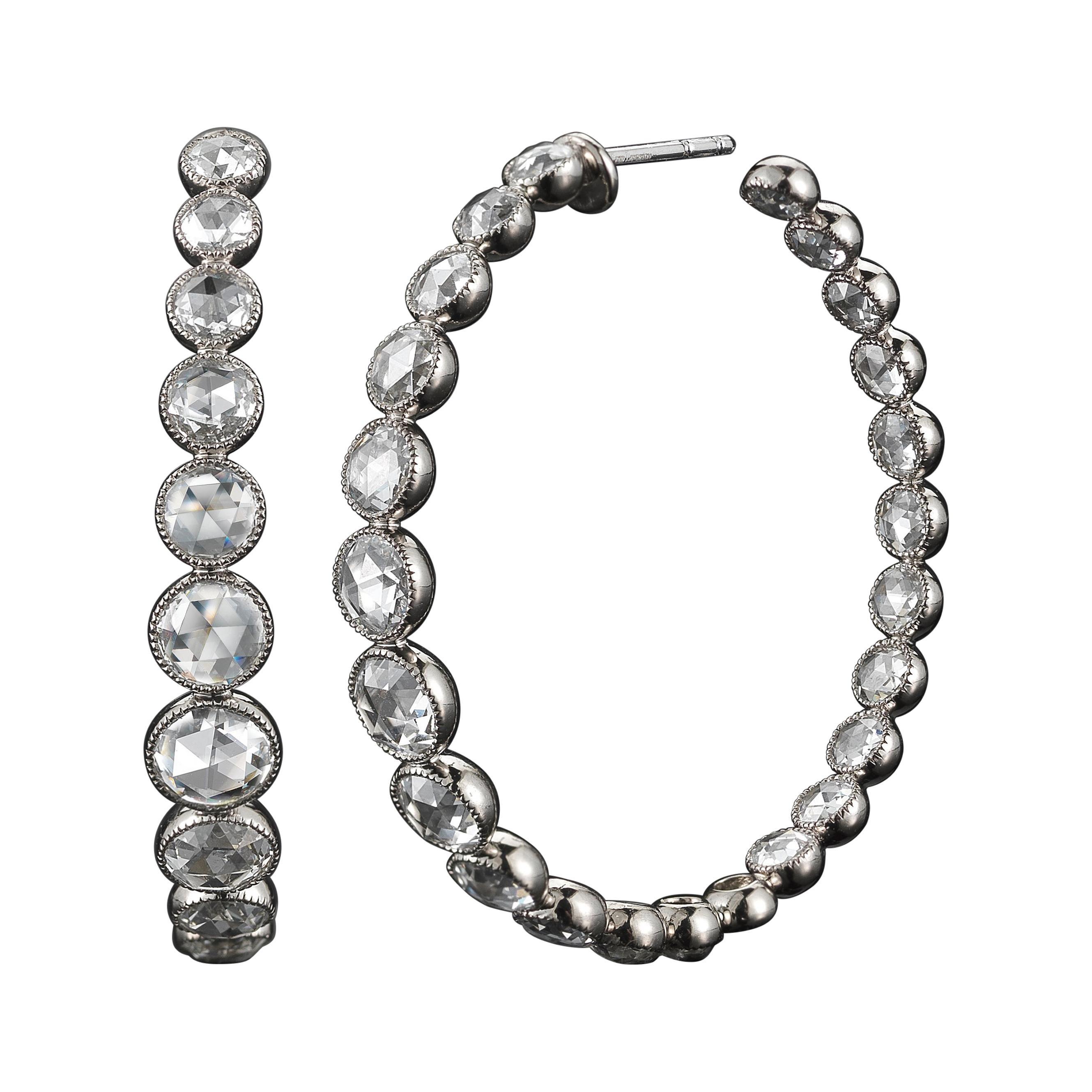 Signed Fred Leighton Rose Cut Diamond Rosette Hoop Earrings