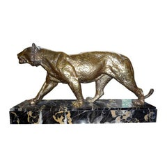 Signed French Art Deco Gilt Bronze Panther Sculpture
