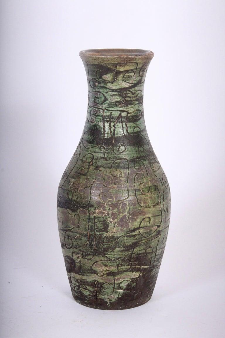 Signed French Art Studio Incised Ceramic Vase, circa 1950 For Sale 6