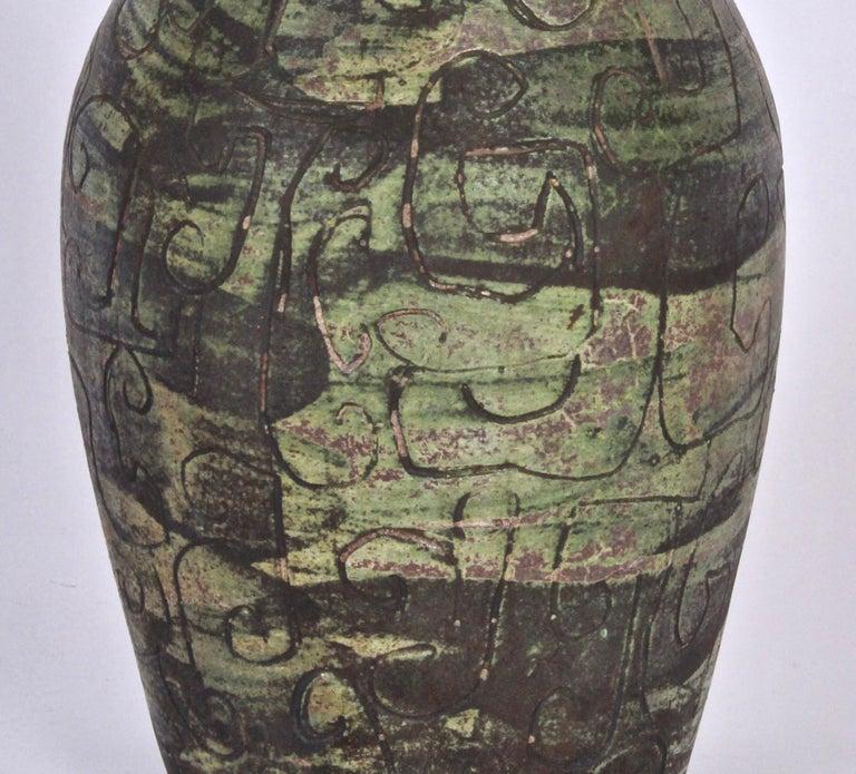 Signed French Art Studio Incised Ceramic Vase, circa 1950 In Good Condition For Sale In Bainbridge, NY