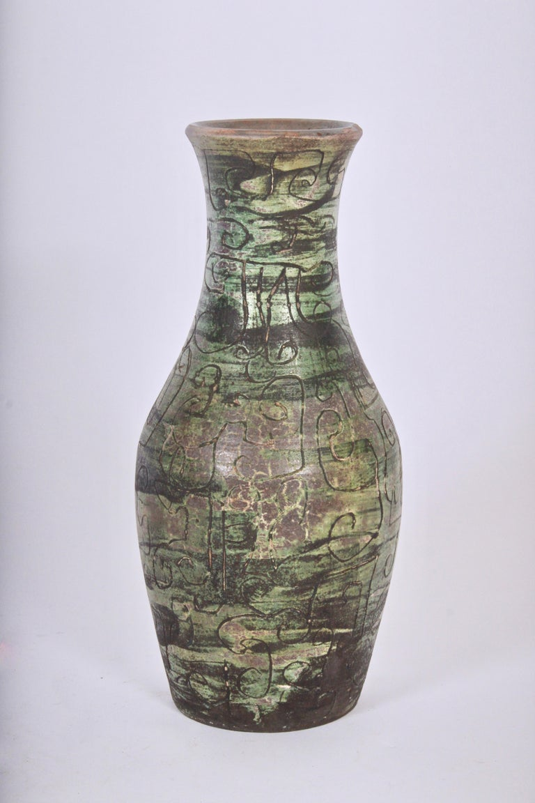 Signed French Art Studio Incised Ceramic Vase, circa 1950 For Sale 4