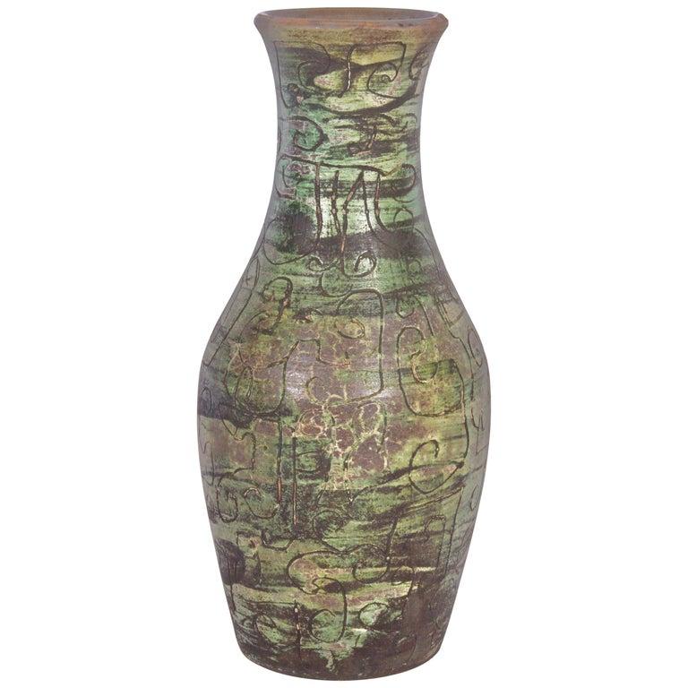 Signed French Art Studio Incised Ceramic Vase, circa 1950 For Sale