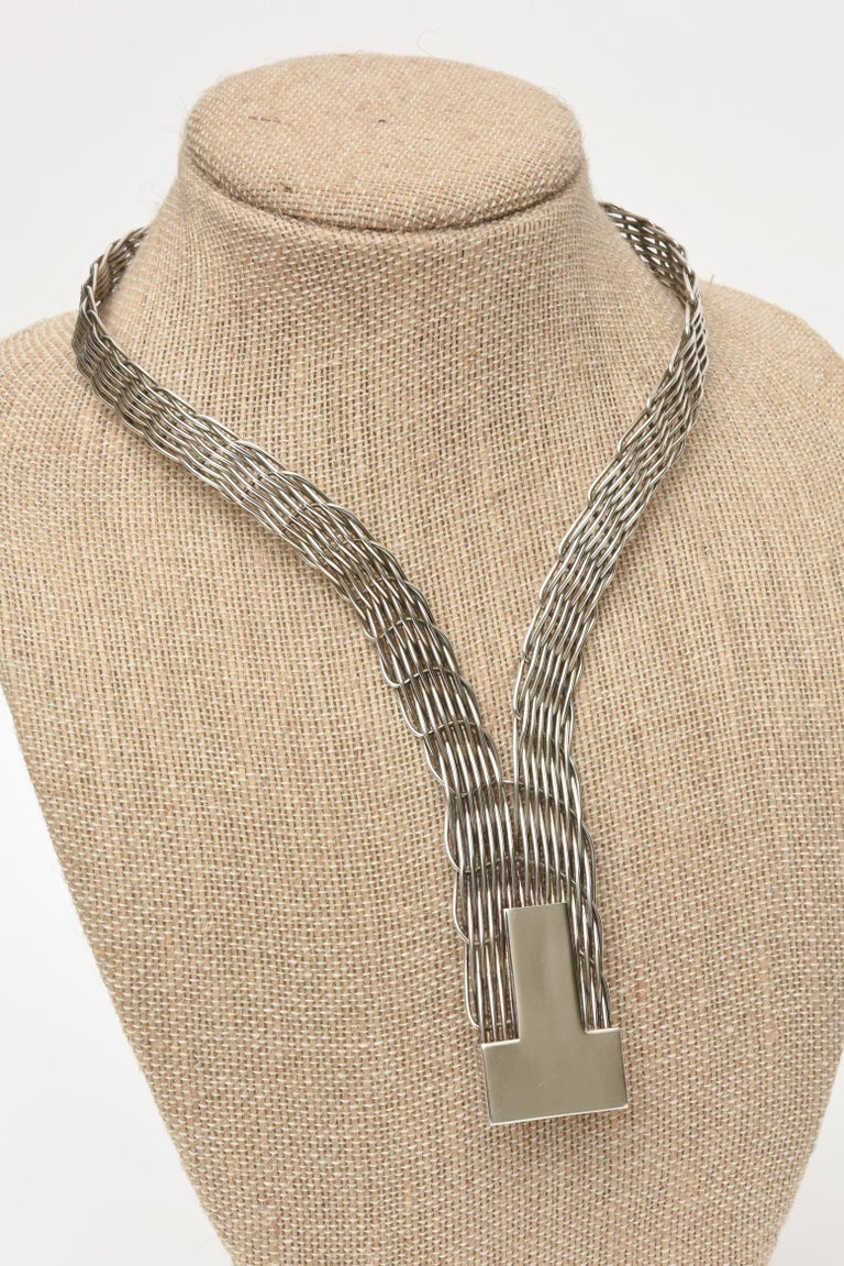 French J.P. Coutrel Silver-Plate V Necklace For Sale 5