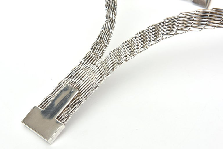 French J.P. Coutrel Silver-Plate V Necklace In Good Condition For Sale In North Miami, FL