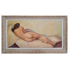 Signed French Framed Artwork Resting Nude Woman Hand Carved Bleached Oak Frame