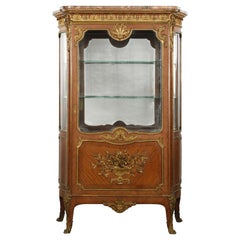 Signed French Gilt Bronze Mounted Vitrine Cabinet, 19th Century