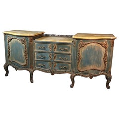 Signed French Louis XV Maison Jansen Blue Painted Yellow Marble Sideboard Buffet