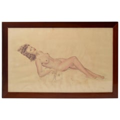Signed French Neoclassical Framed and Glass Cover Painting Resting Nude Woman 40