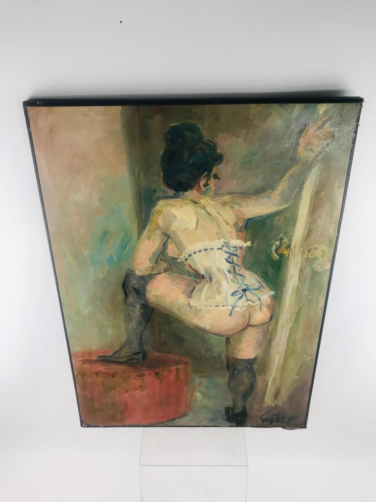 A beautiful signed (signature bottom right) oil on canvas by artist simply known as Wolff. A turn of the century depiction of a bare bottomed woman, wearing only her thigh high leather boots and a garter, although not made clear why or what she is