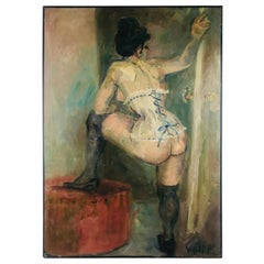 Signed Full Figure of Women in Corset Oil on Canvas by Wolff