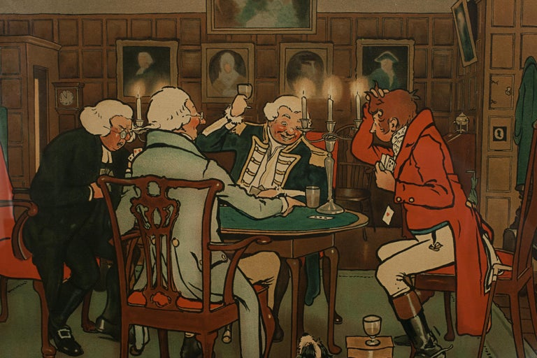 Signed Gaming Lithographs 'Mated' & 'Revoked' by Cecil Aldin, Chess and Cards For Sale 3