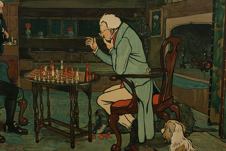 Signed Gaming Lithographs 'Mated' & 'Revoked' by Cecil Aldin, Chess and Cards For Sale 11