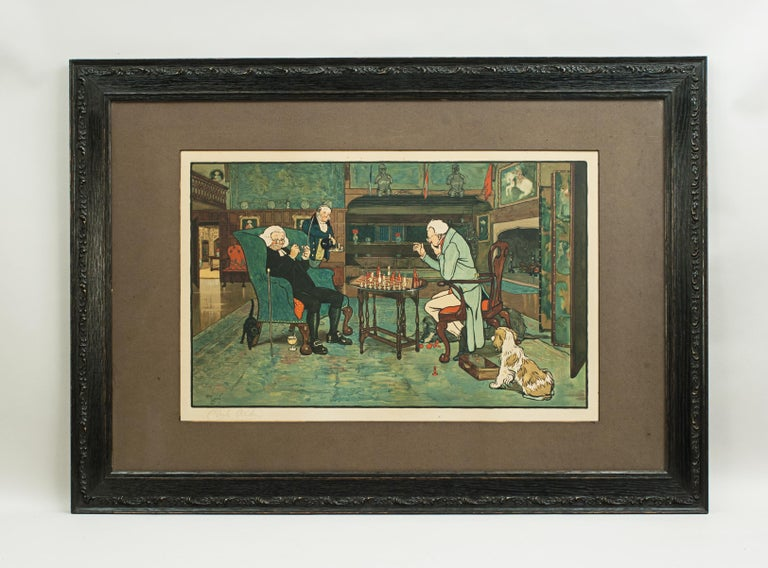 Antique pair of Cecil Aldin Prints, 'Mated' and 'Revoked'. A large pair of rare original gaming chromolithographs by Cecil Aldin in the original oak frames. The colourful pictures are titled 'Mated' and 'Revoked' and each picture with printed