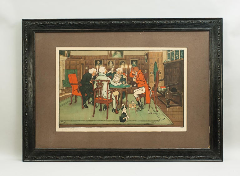 Edwardian Signed Gaming Lithographs 'Mated' & 'Revoked' by Cecil Aldin, Chess and Cards For Sale