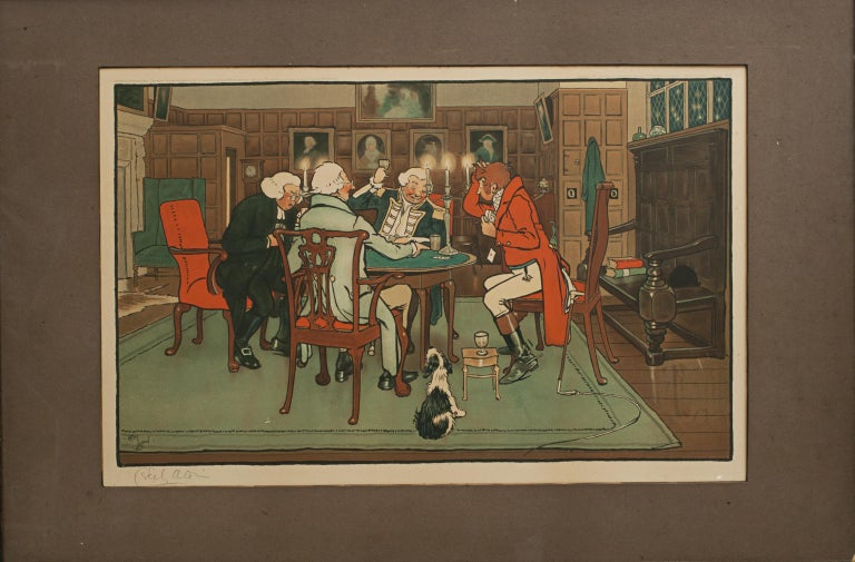 British Signed Gaming Lithographs 'Mated' & 'Revoked' by Cecil Aldin, Chess and Cards For Sale