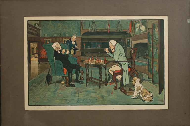 Signed Gaming Lithographs 'Mated' & 'Revoked' by Cecil Aldin, Chess and Cards In Good Condition For Sale In Oxfordshire, GB
