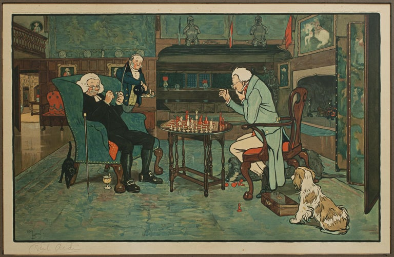 Early 20th Century Signed Gaming Lithographs 'Mated' & 'Revoked' by Cecil Aldin, Chess and Cards For Sale
