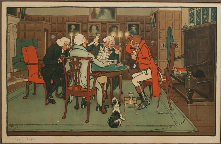 Paper Signed Gaming Lithographs 'Mated' & 'Revoked' by Cecil Aldin, Chess and Cards For Sale