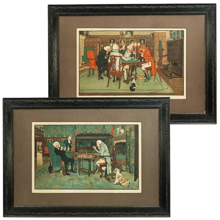 Signed Gaming Lithographs 'Mated' & 'Revoked' by Cecil Aldin, Chess and Cards For Sale